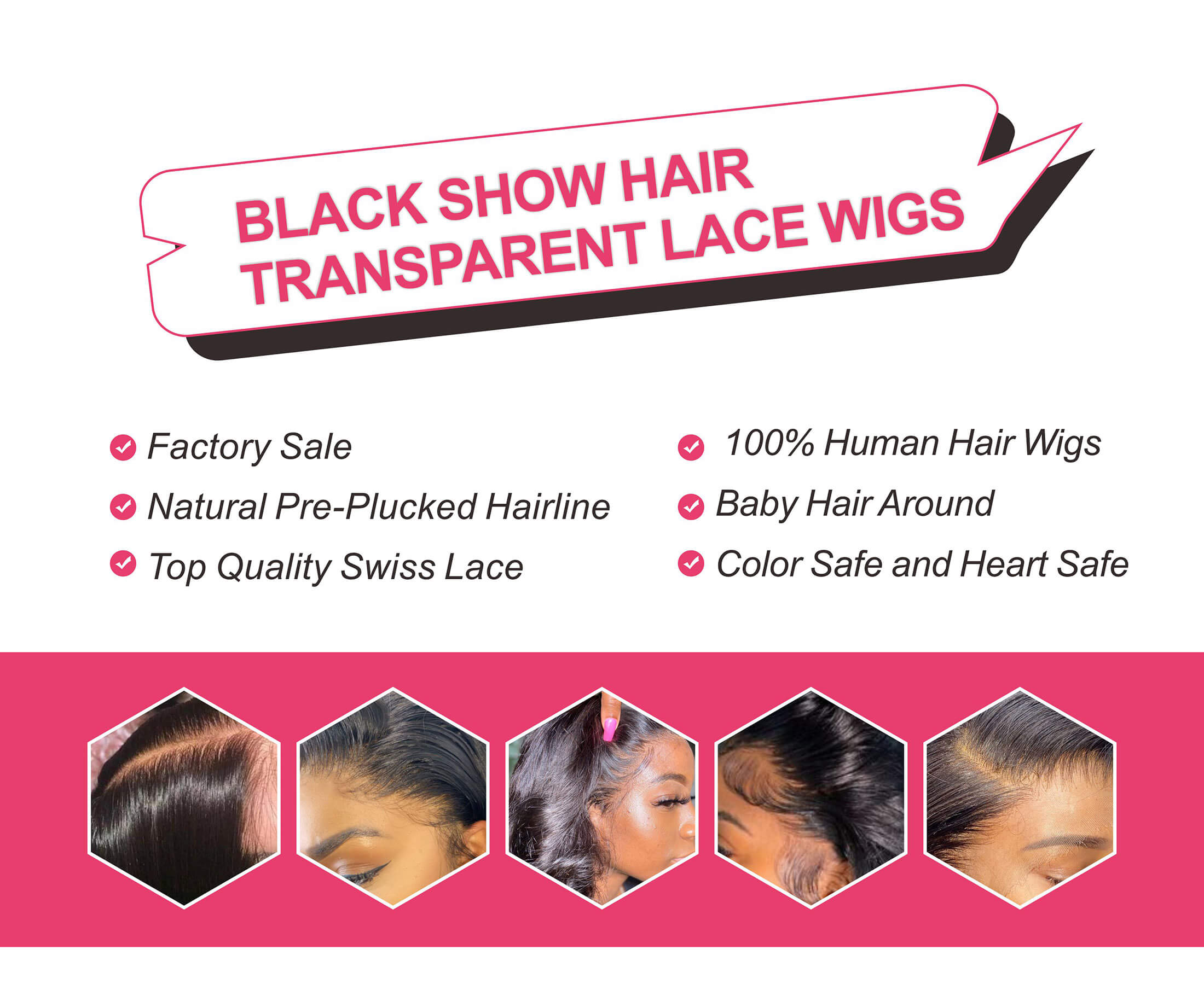 Black Show Hair transparent lace wigs