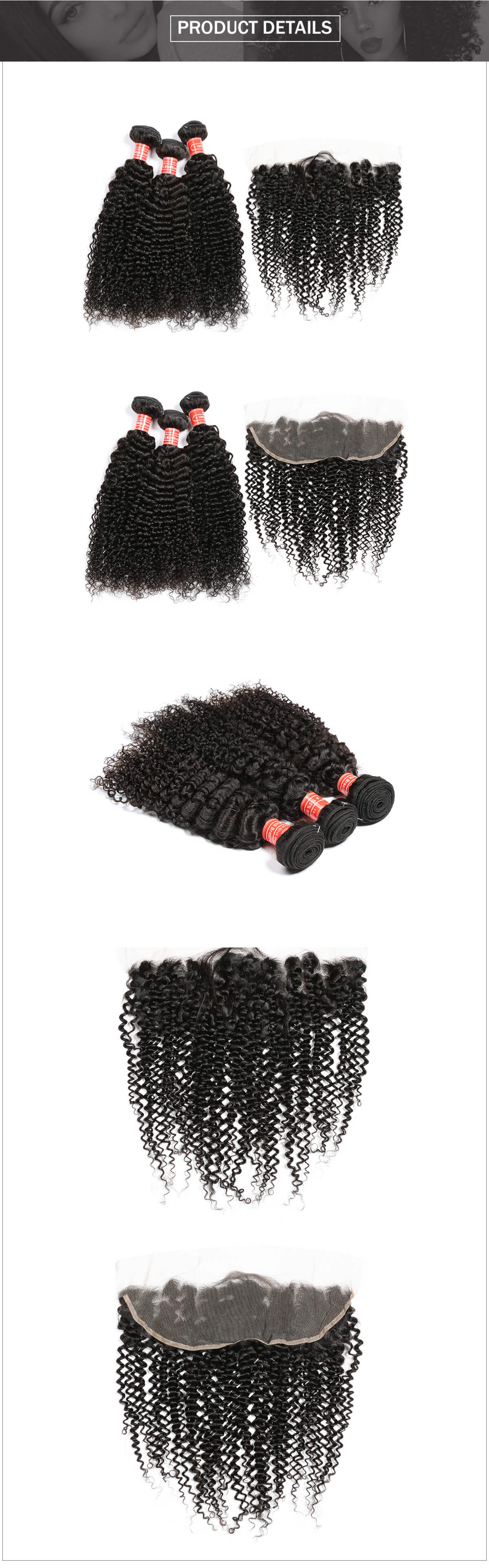 mink Brazilian hair curly hair bundles with frontal