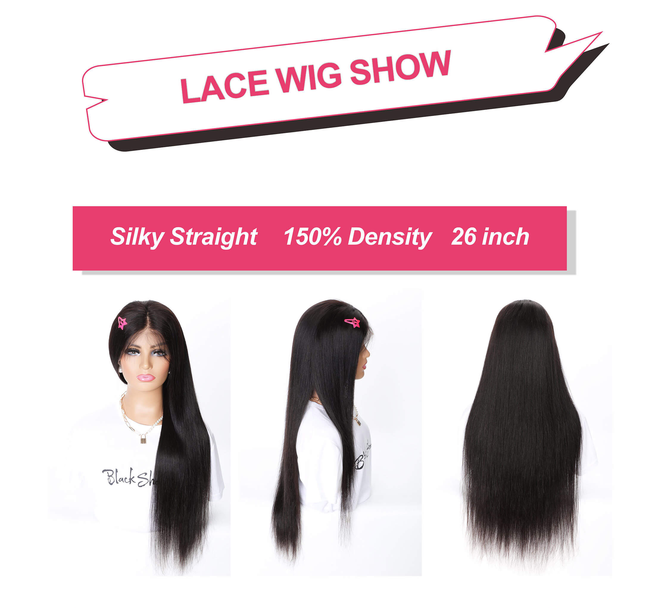 Black Show Hair straight hair transparent lace 13*6 lace front wig