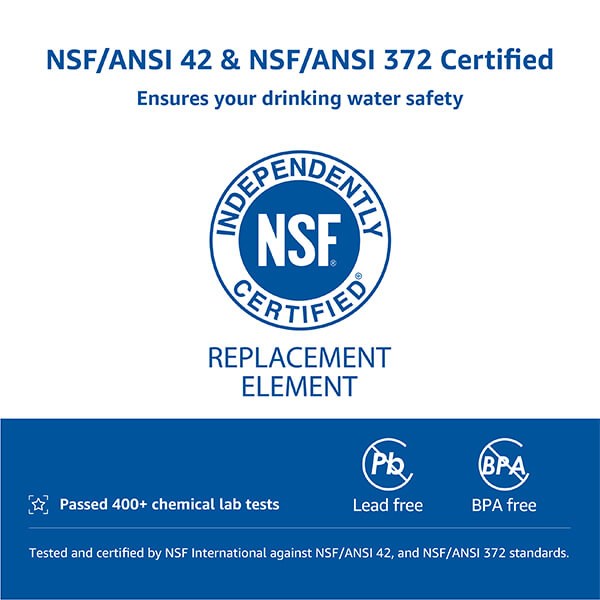 NSF certified filtration performance