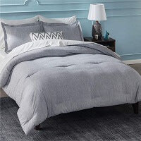 Bedsure Grey Queen Comforter Set - Bedding Comforter Sets, Gray Bedding Set Cationic Dyeing Bed Sets with 2 Pillow Shams (Queen/Full, 88x88 inches, 3 Pieces)