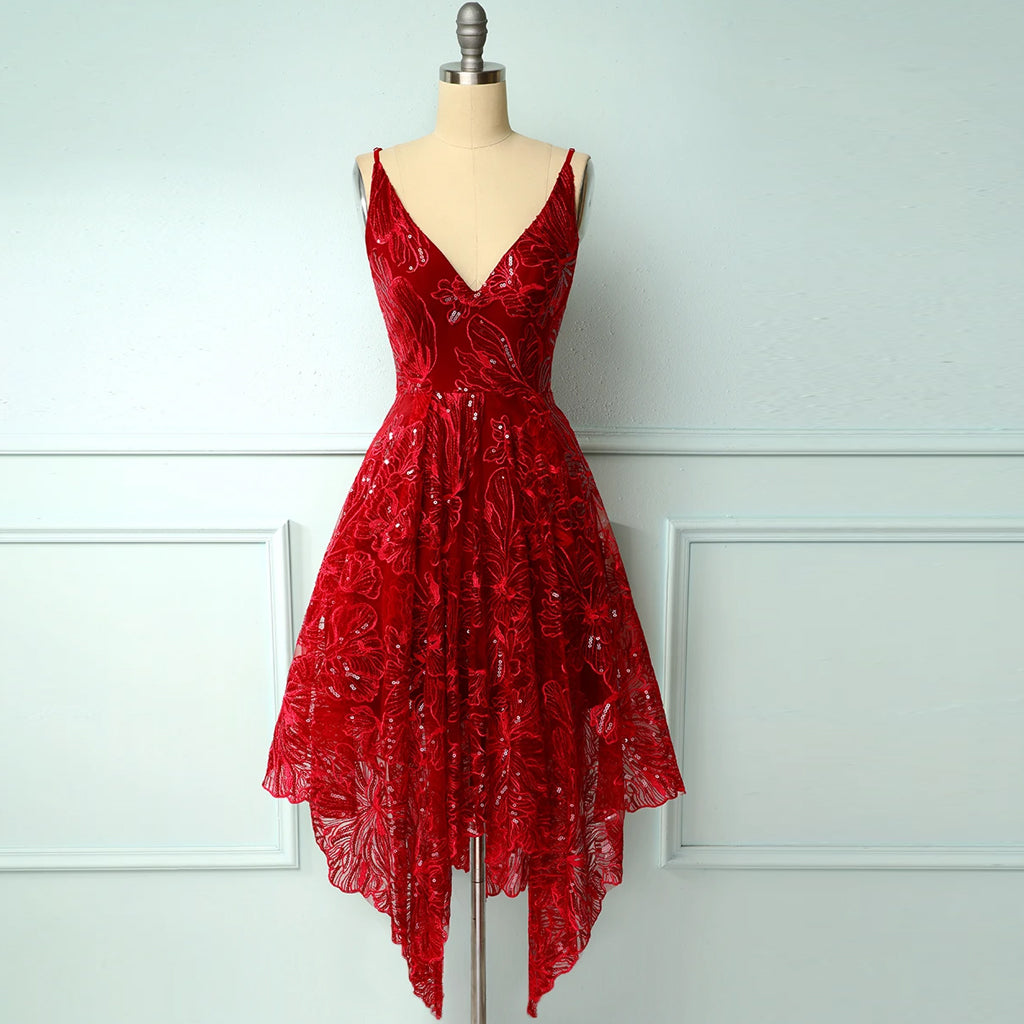 Red asymmetrical Homecoming Dress
