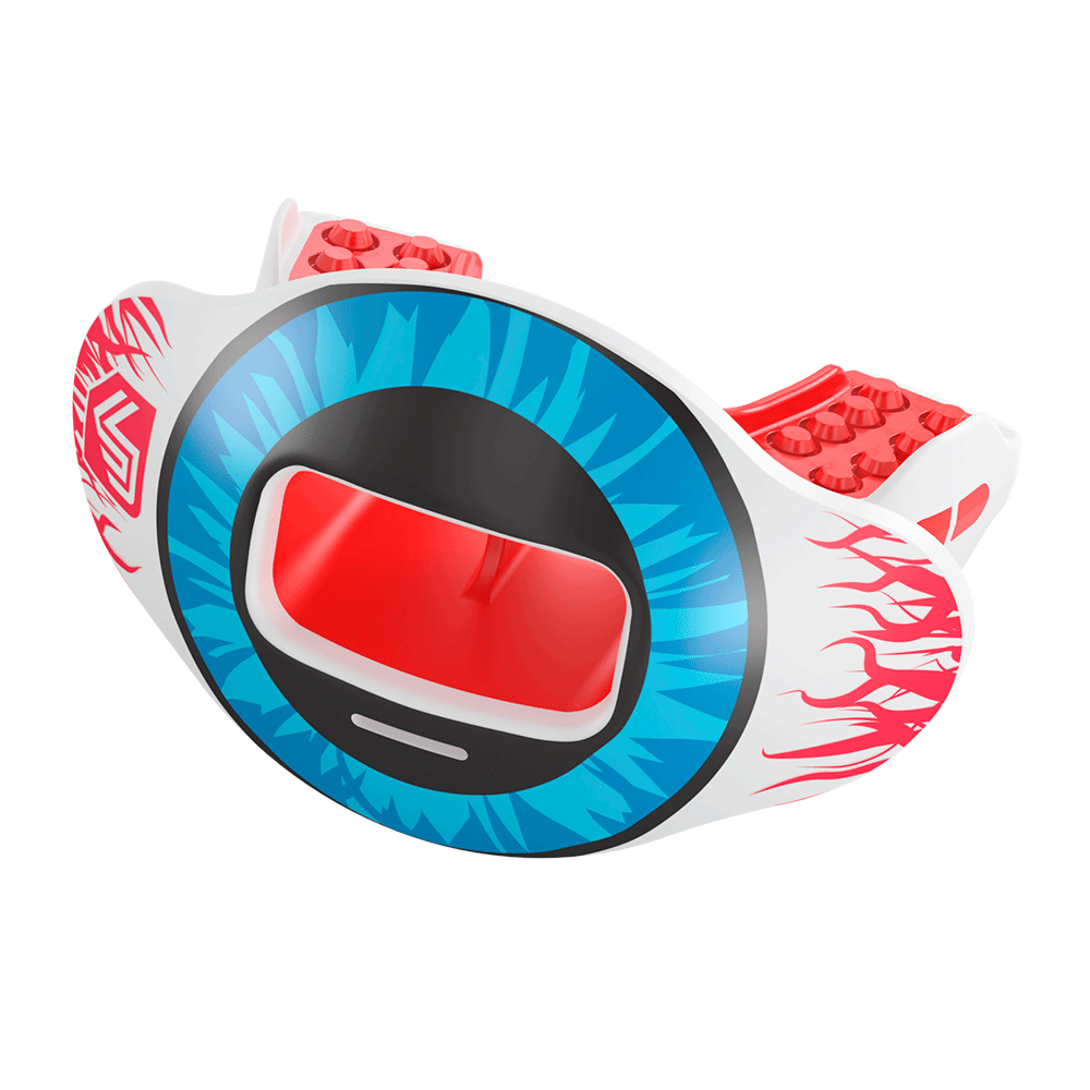 Red Eye Comic Print Max AirFlow Lipguard and Mouthguard - Red and Blue - Side Angle