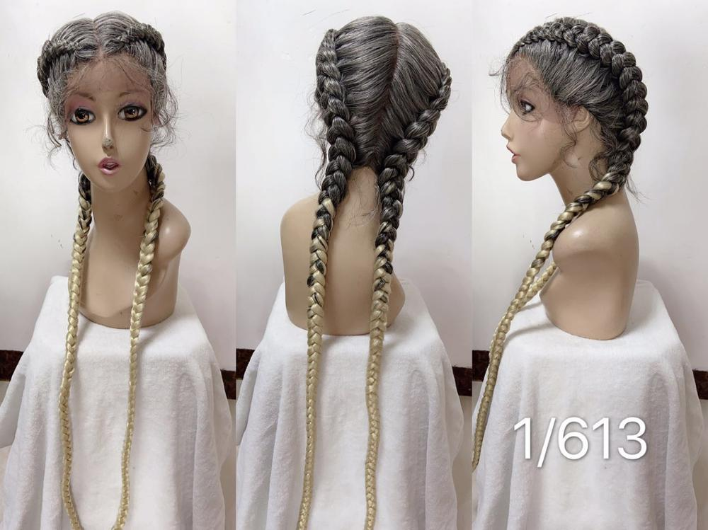 28 inch 360 Lace Braided Wig for Twist Braids Wig Synthetic Lace Frontal Wigs with Baby Hairs Woman