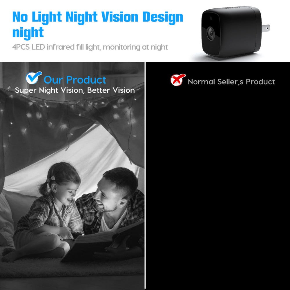 Smart WIFI Charger Mini Camera with Plug & Play 7*24Hours Mobile APP Live Stream Surveillance