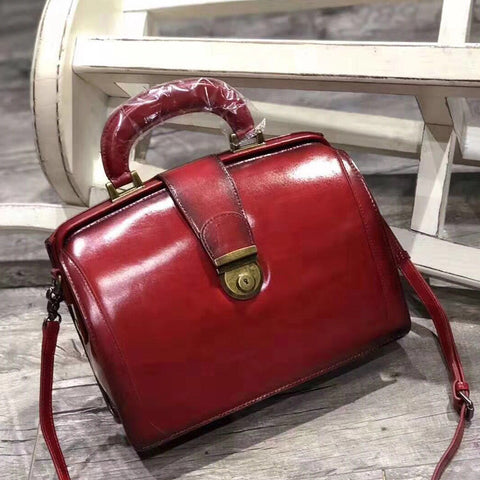 Women's Leather Doctor Style Handbag Purse