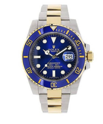 Rolex Submariner Stainless Steel Yellow Gold Blue Dial Watch