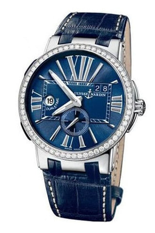 Ulysse Nardin Executive Dual Time Blue Dial Diamond Men's Watch