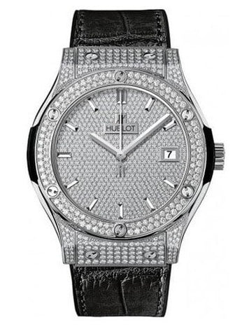 Hublot Classic Fusion Diamond Pave Dial Titanium Men's Watch