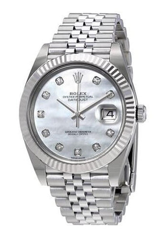 Rolex Oyster Perpetual Datejust White Mother of Pearl Diamond Men's Watch