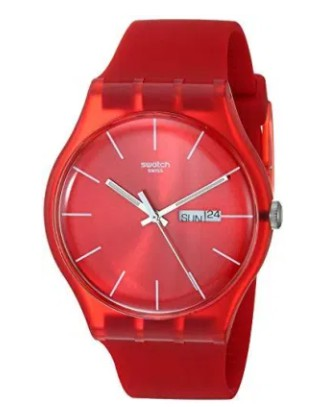 Swatch SUOR701 Quartz Red Plastic Watch