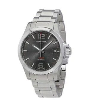 Longines Conquest V.H.P. Black Dial Men's Stainless Steel Watch.
