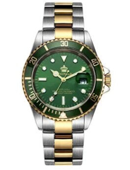 Fanmis Gold & Green Two Tone Stainless Steel Watch