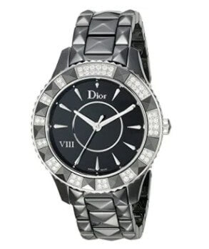 Christian Dior Women's Black Face Crystal and Diamond Watch