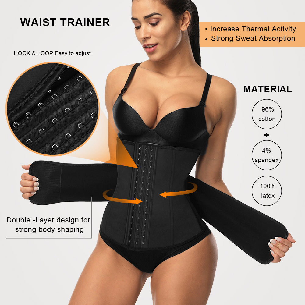 FeelinGirl Women Sports Fitness Corset Steel Bones Waist Trainer