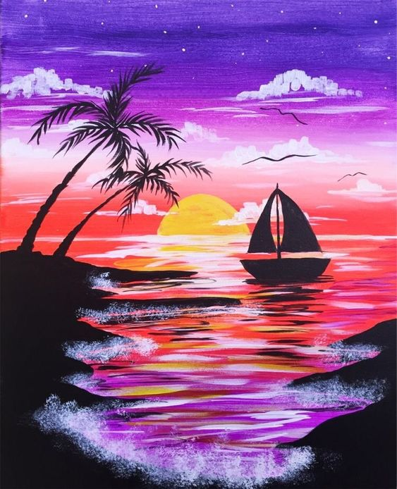 easy boat painting ideas, easy sunset painting ideas, easy landscape painting ideas for beginners, easy acrylic painting ideas