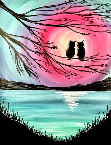 Love birds painting, Easy Landscape Painting Ideas for Beginners, Easy Canvas Painting Ideas, Easy Tree Paintings, Easy Landscape Paintings, Simple Acrylic Painting Ideas for Beginners