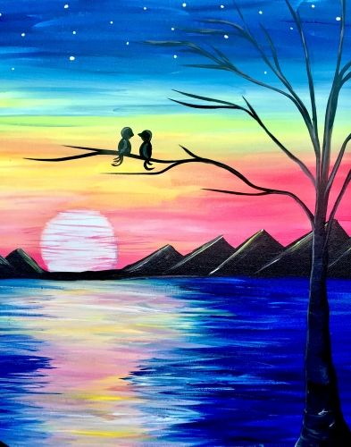 Easy Landscape Painting Ideas for Beginners, Easy Canvas Painting Ideas, Easy Tree Paintings, Bird Art, Easy Landscape Paintings, Simple Acrylic Painting Ideas for Beginners