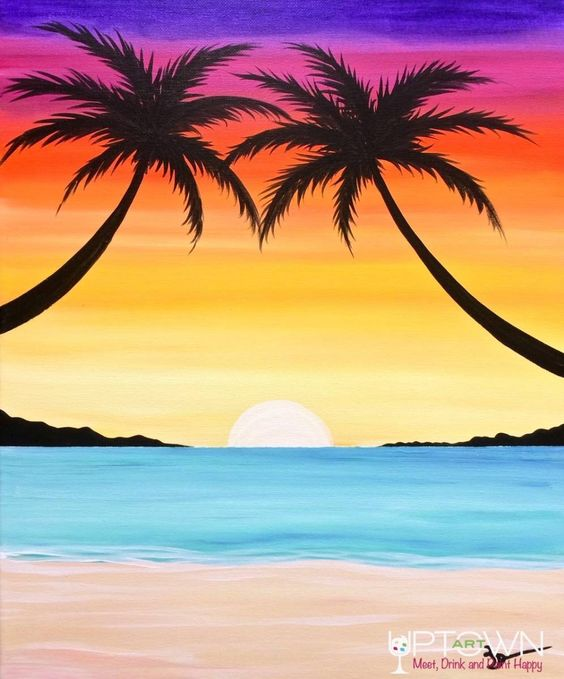 Easy Landscape Painting Ideas for Beginners, Easy Canvas Painting Ideas, Easy Tree Paintings, Easy Landscape Paintings, Simple Acrylic Painting Ideas for Beginners