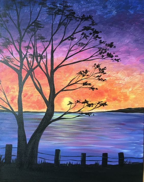 Easy tree painting ideas for beginners, simple tree paintings, easy landscape paintings, easy acrylic paintings for beginners