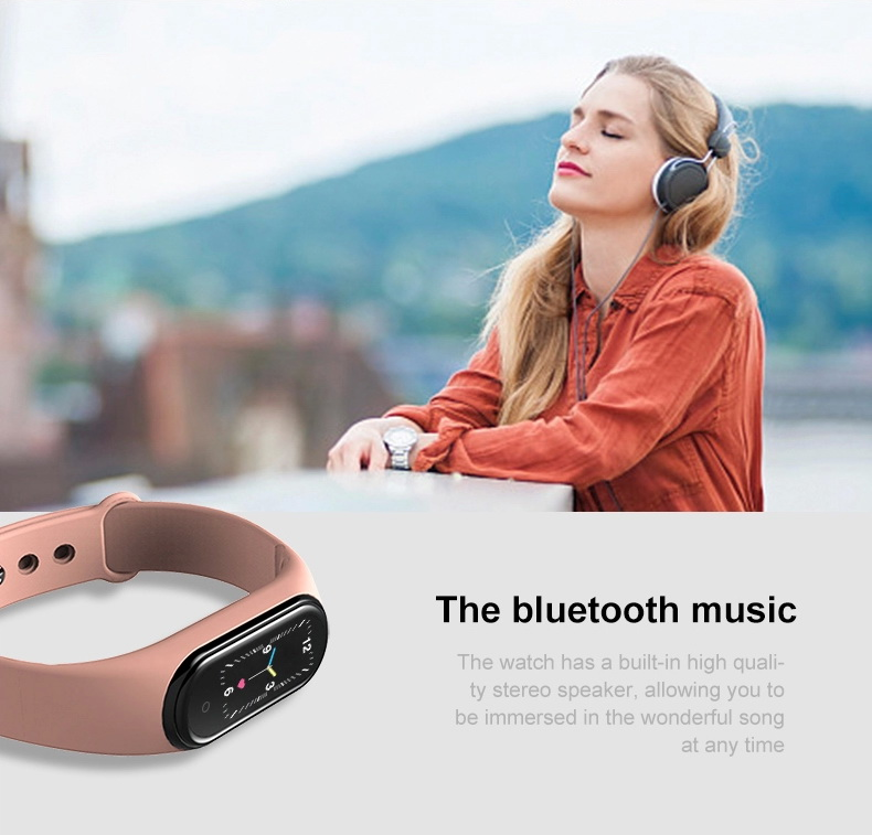 girl with M5 Smart Fitness BT Call Bluetooth Bracelet