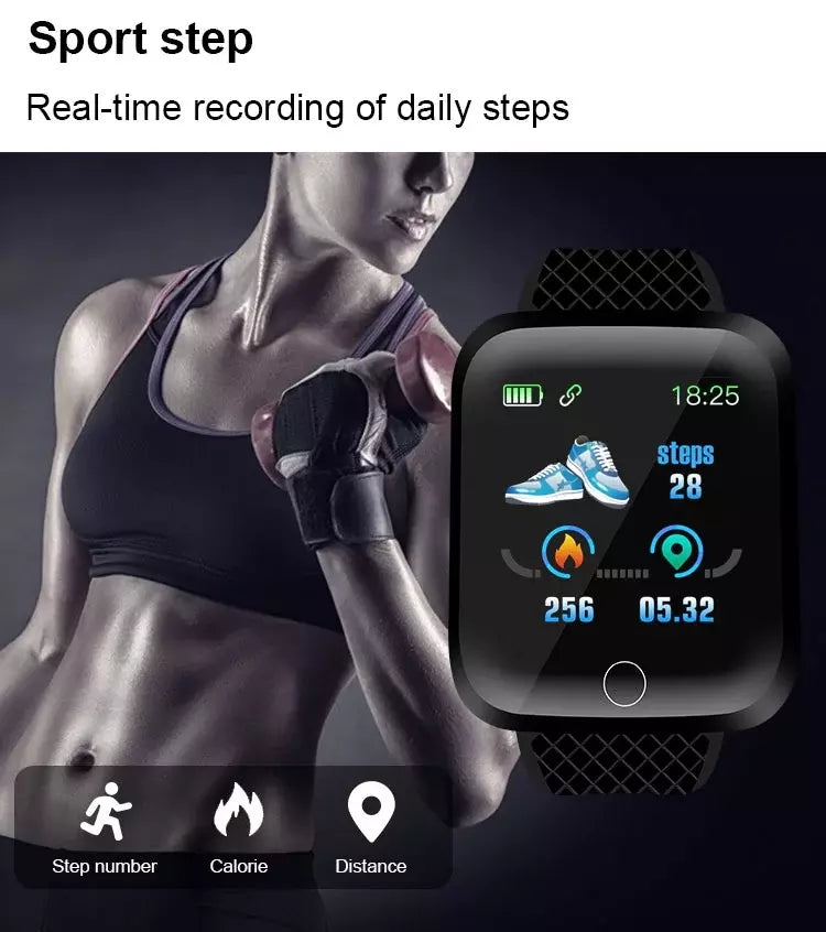 1woman use 16plus Fitness Watch – PINGKO to record steps