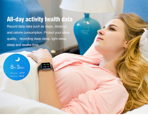 girl with ID205L Smart Fitness Watch – PINGKO