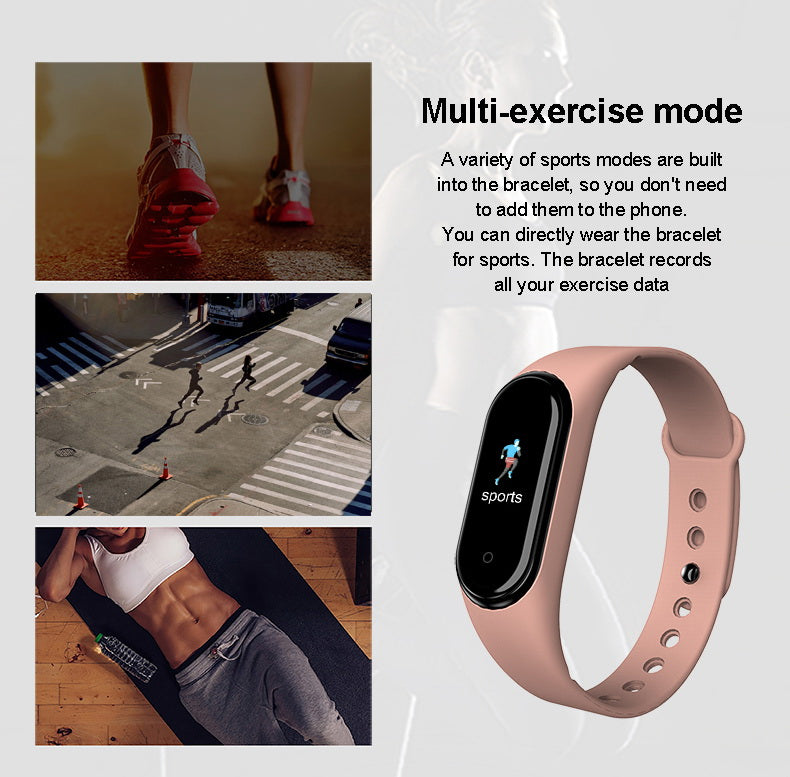 Pink M5 Smart Fitness BT Call Bluetooth Bracelet has exercise mode