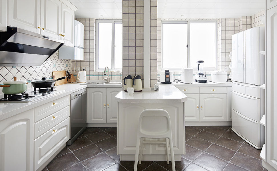 white cabinets with gold handles