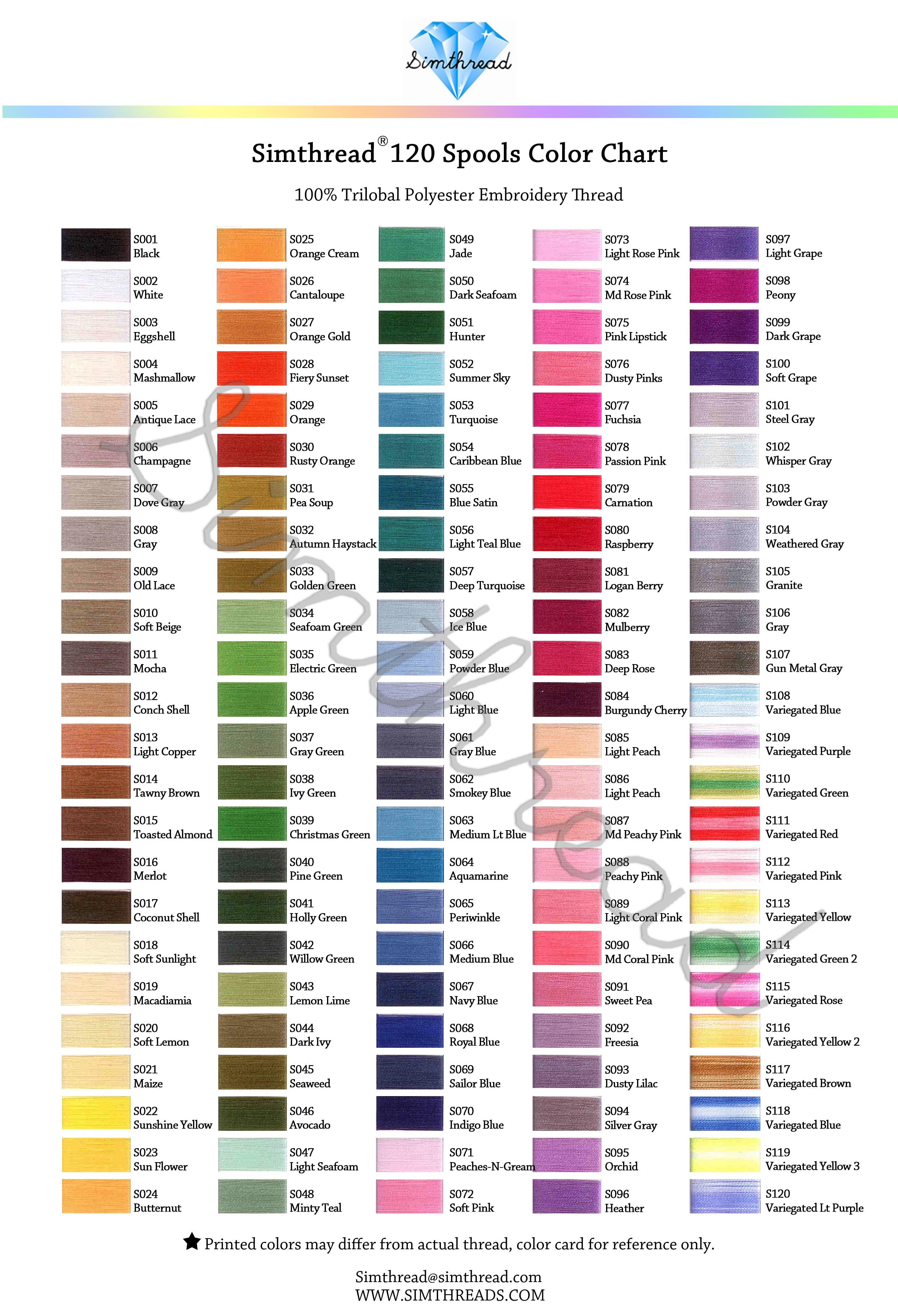 Simthread 120 color collection