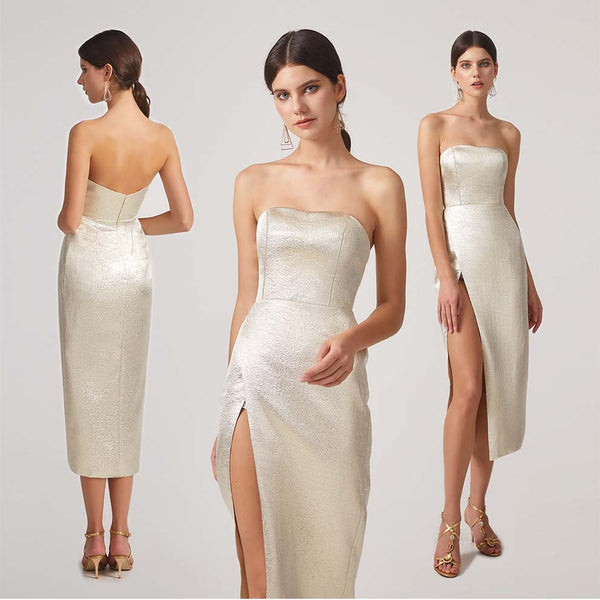 metallic bridesmaid dress