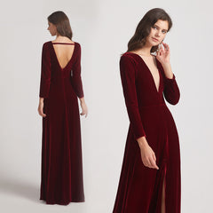 Long Sleeve Velvet Bridesmaid Dresses with Illusion V-neck