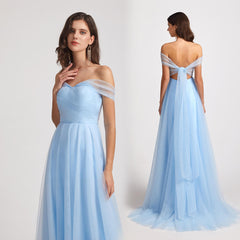 Sweetheart Backless Floor Length Tulle Convertible Bridesmaid Dresses