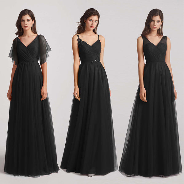 black tulle bridesmaid dresses