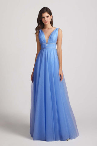Plunging V-neck Straps Tulle Long Blue Bridesmaid Dresses