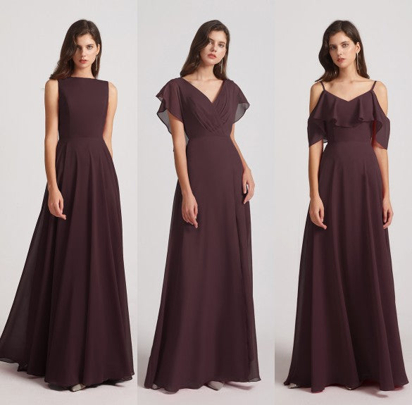 burgundy chiffon bridesmaid dresses