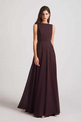 Jewel Sleeveless Chiffon Long Bridesmaid Dresses