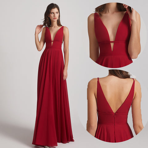 deep v-neck chiffon bridesmaid dresses