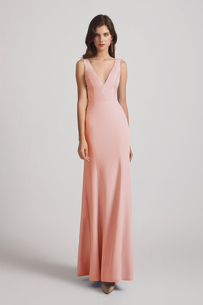 coral satin bridesmaid dress