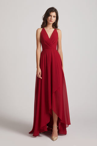 V-neck Chiffon Hi-Lo Crisscross Back Long Bridesmaid Dresses