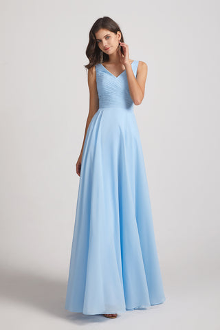 Double V-neck Ruffles Chiffon A-line Sleeveless Bridesmaid Dresses