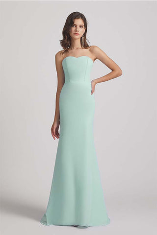 Mint Strapless Sweetheart Sleek Bridesmaid Dresses