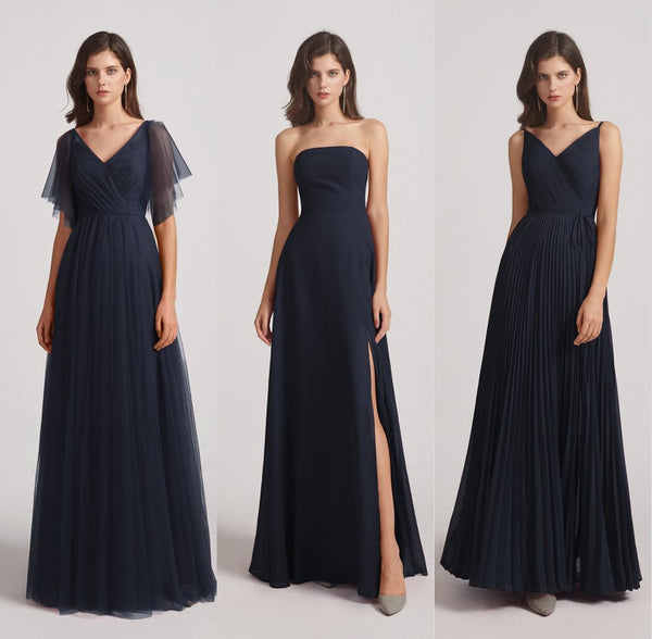 dark blue bridesmaid dress