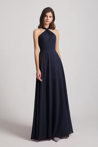 Halter Chiffon A-line Floor Length Bridesmaid Dresses