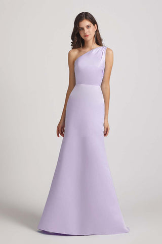 one shoulder silky fitted affordable bridesmaids dresses