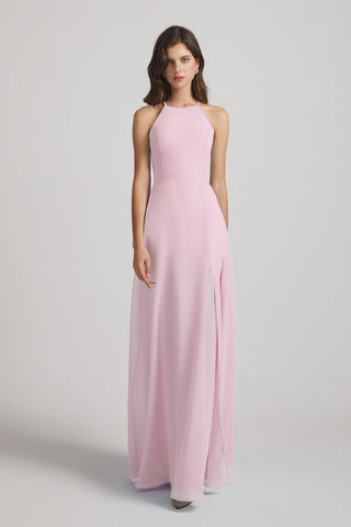 Halter Chiffon Slit A-line Long Bridesmaid Dresses
