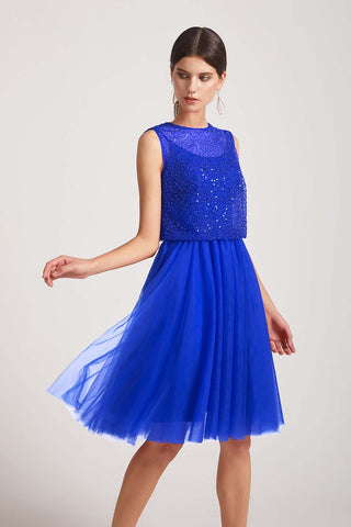 Jewel Sequin sleeveless Short A-line Bridesmaid Dresses