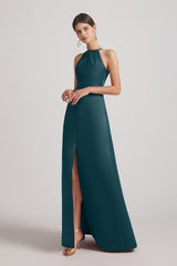 halter satin long bridesmaid dress