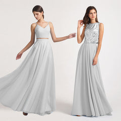 two pieces bridesmaid dresses
