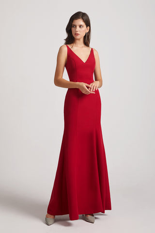 Straps V-neck Dark Red Satin Long Mermaid Bridesmaid Dresses